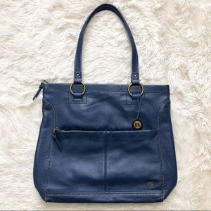 The Sak Blue Leather Iris Large Tote Bag